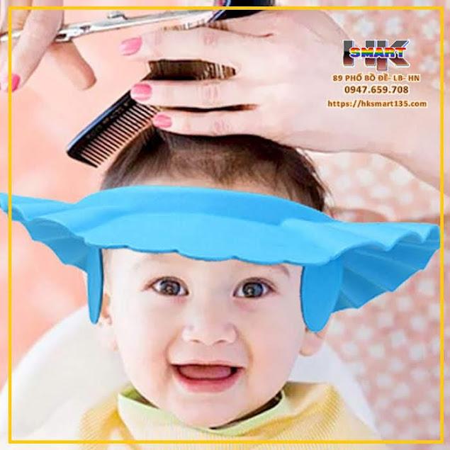 Mũ chắn nước gội đầu, cắt tóc cho bé