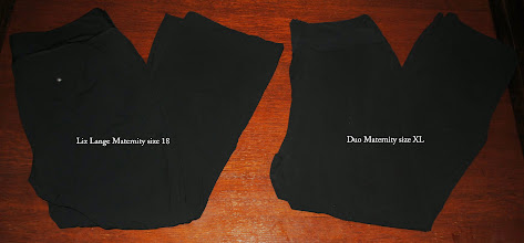 Photo: Black Lycra/Spandex Career or Dress Pants. Maternity. Left Pair Liz Lange Maternity size 18. EXCELLENT Shape. $8. Right Pair by Duo Maternity. XL $5 NO stains. Any discolorations caused by camera flash