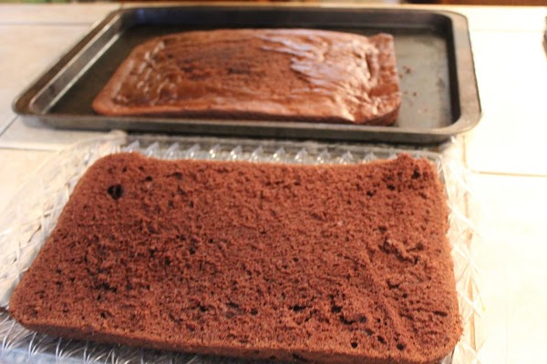 When the cake is cool, use a frosting spatula to slip around the outer...