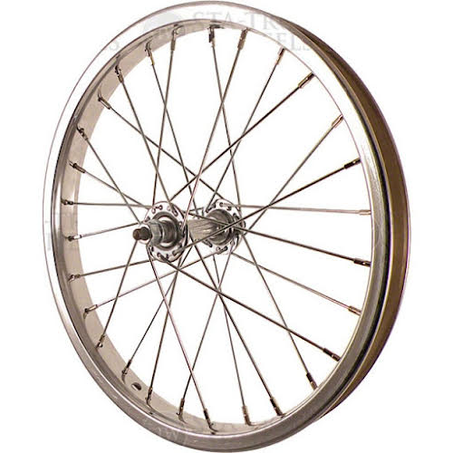 Sta-Tru Front Wheel 16 inch Silver Steel Rim with Solid Thread on Axle