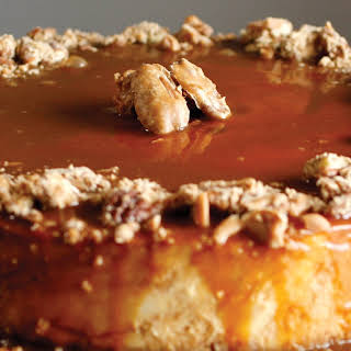 Bourbon Salted Caramel Cheesecake with Pralines.