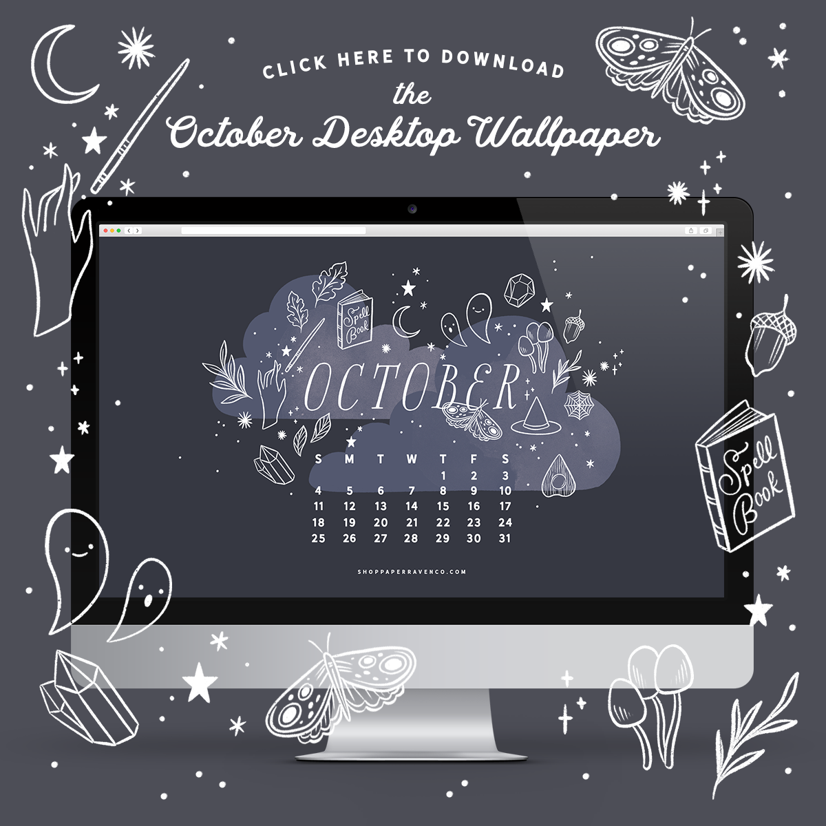 October 2020 Illustrated Desktop Wallpaper by Paper Raven Co. | ShopPaperRavenCo.com #dressyourtech #desktopwallpaper