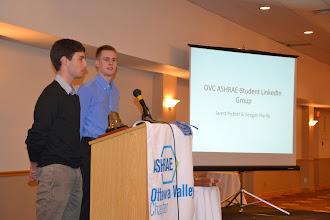 Photo: ASHRAE OVC Students Jarett Pichler and Keegan Hardy discussing new OVC ASHRAE-Student LinkedIn Group