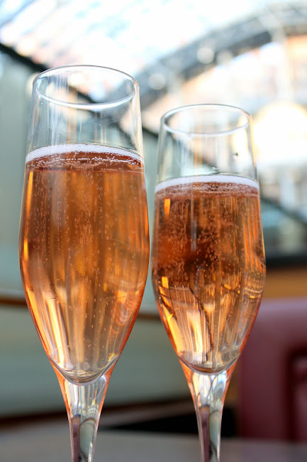 Champagne at Searcys at St Pancras in London