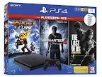 PlayStation 4 Slim 1TB Black + Uncharted 4 + The Last of Us + Ra
