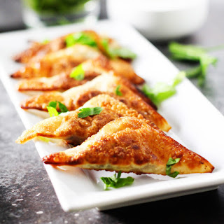 Southwestern Potstickers with Lime-Cilantro Sour Cream