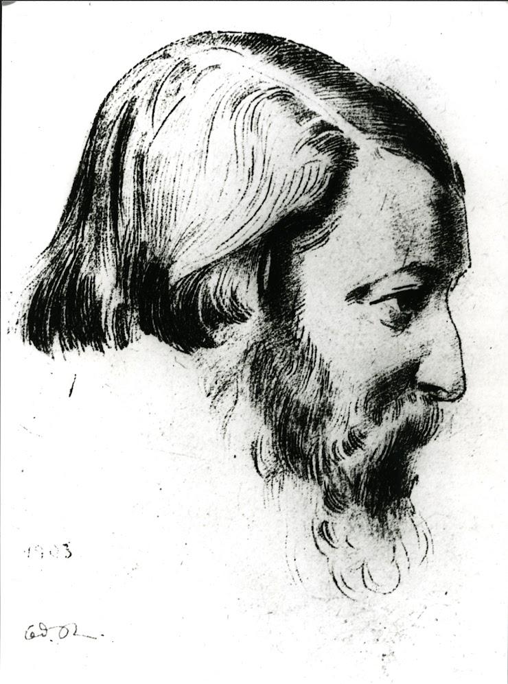 Odilon Redon (Bordeaux, 1840 ; Paris, 1916) Portrait de Paul Sérusier de profil, 1903 Lithographie, datée, 16 x 13,50 cm Coll. Musée de Pont-Aven, inv. 2005.11.1 © Musée de Pont-Aven