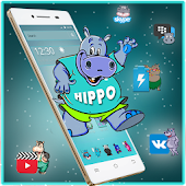 Cute Cartoon Hippo Mobile Theme