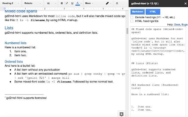 Docs to Markdown (дополнение для Google Документов)