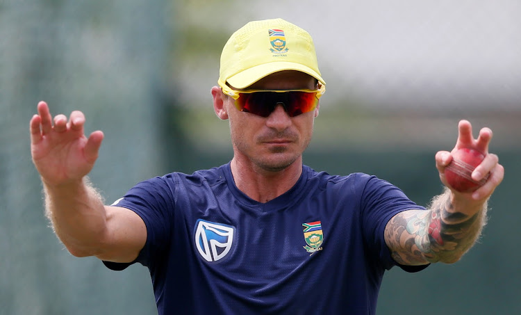 South Africa's fast bowler Dale Steyn stretches during a practice session on July 19 2018 ahead of their second test cricket match against Sri Lanka in Colombo.