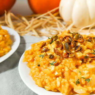 Creamy Pumpkin Risotto with Sweet and Spicy Roasted Pepitas (Vegan, Gluten Free) Recipe
