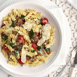 Fusilli with Sausage, Mushrooms and Cherry Tomatoes.