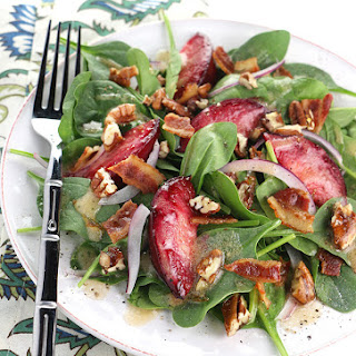 Roasted Plum Spinach Salad with Candied Pecans.