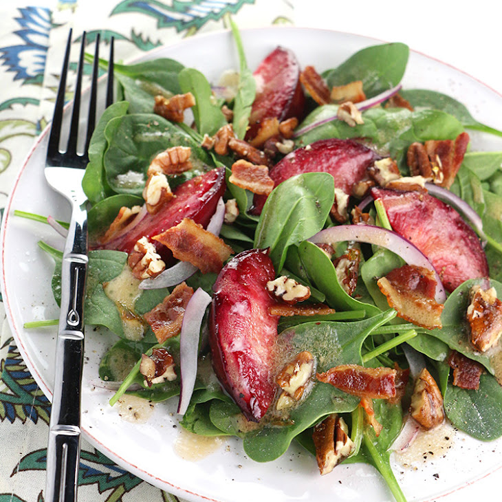 Roasted Plum Spinach Salad with Candied Pecans Recipe