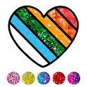 Glitter Heart Love Coloring Book for Girls icon