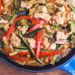 Thai Red Curry Pork with Zucchini Noodles.