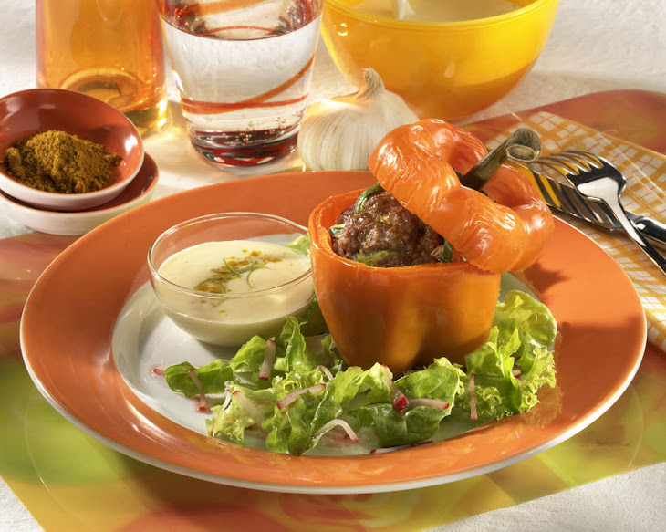 Beef Stuffed Peppers with Curry Aioli Recipe