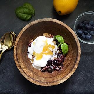 Blueberry Basil Crisp With Lemon Drizzle