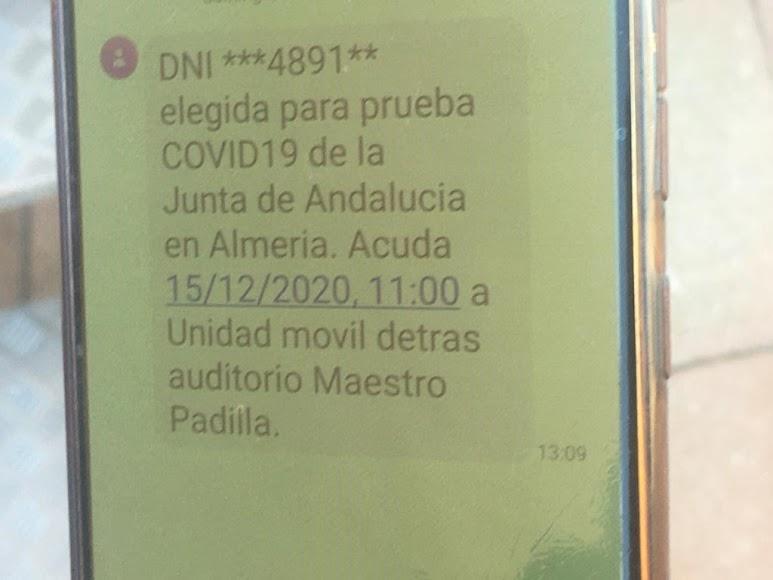 SMS recibido por una almeriense citada para el test.