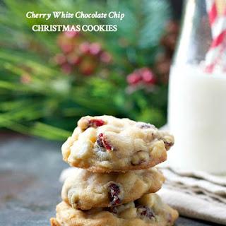 Cherry White Chocolate Chip Christmas Cookies.