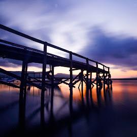 Miror of the bridge by Arie Sanjaya - Buildings & Architecture Bridges & Suspended Structures ( sunrise, sunset, bridge, water, landscape )