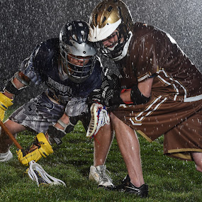 Night game face off by Jim Harmer - Sports & Fitness Lacrosse ( lacrosse )