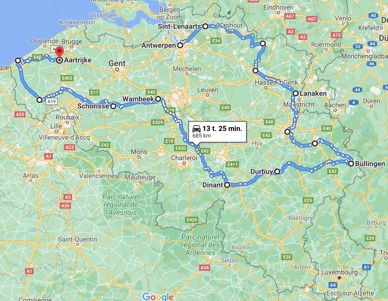 Road trip Belgium route