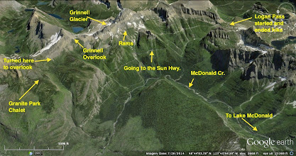 Photo: One more look at the area - The out-and-back hike from Logan Pass to the Grinnell overlook  was a little more than 15 miles.