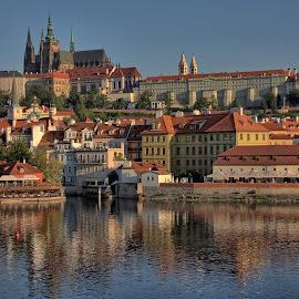 Prague by Randi Hodson - City,  Street & Park  Vistas ( city, reflections, buildings, prague, river )