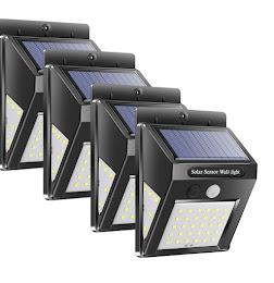 Set 4 x Lampa solara de perete cu senzor miscare 30 LED