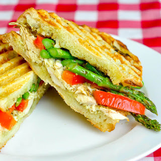 Asparagus Panini with pesto & grilled chicken.