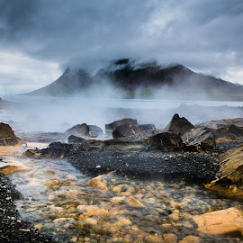 Hot water running at the Beach by Palmi Vilhjalmsson - Landscapes Waterscapes ( west iceland, iceland, snæfellsnes, hot water, kolgrafarfjordur )