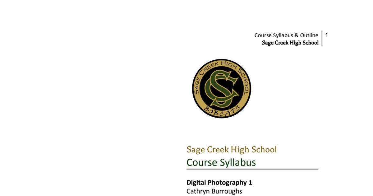 Digital Photography 1 Course Syllabus 2019 Doc Pdf Google Drive