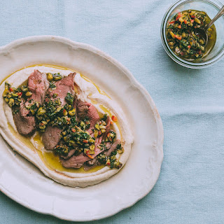 Roast Leg Of Lamb With Cilantro-pistachio Pesto And White Bean Puree