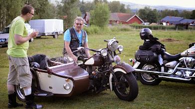 Photo: Mockfjärd. Lasse and his incredible bike with VW engine.