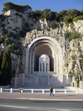 Photo: Every city, town, and village in France has war memorials, especially of WW I. This one in Nice is carved in the Chateau Hill, and faces directly out to sea.