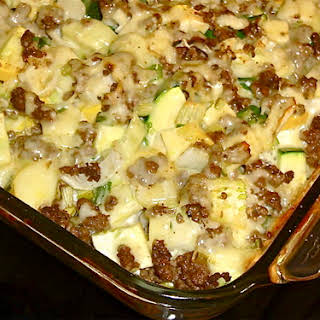 Mexican Beef & Summer Squash Casserole.