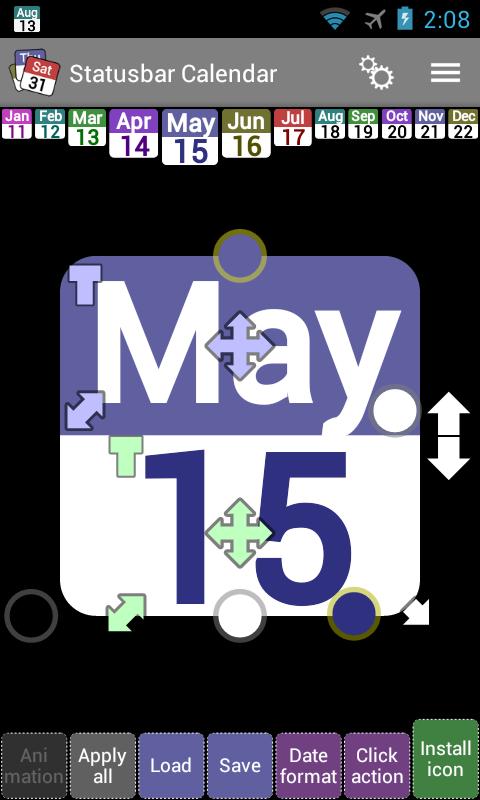 Status bar Calendar Demo- screenshot