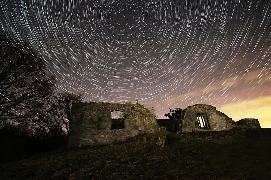 The old church ruin by Jocke Mårtensson - Landscapes Starscapes ( church, ruin, astrophotography, night, astroscape, startrails,  )