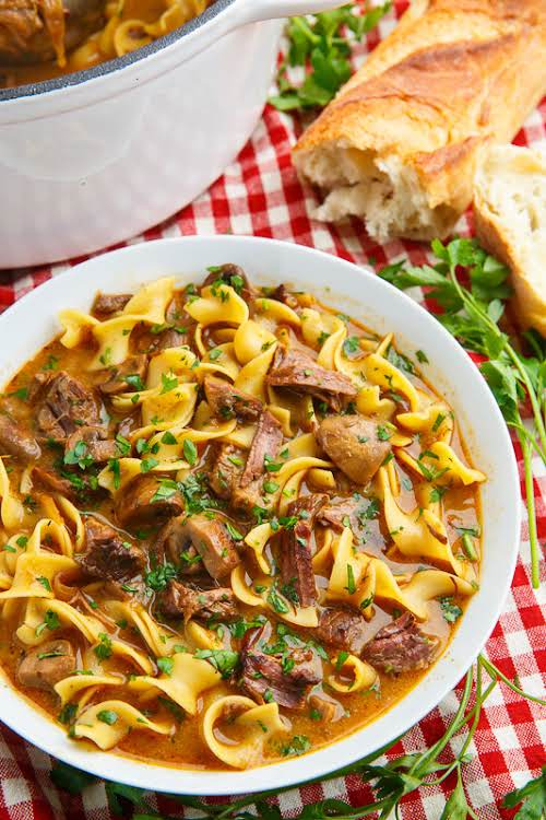 """Slow Braised Beef Stroganoff Soup """"A warm an comforting bowl of slow..."""