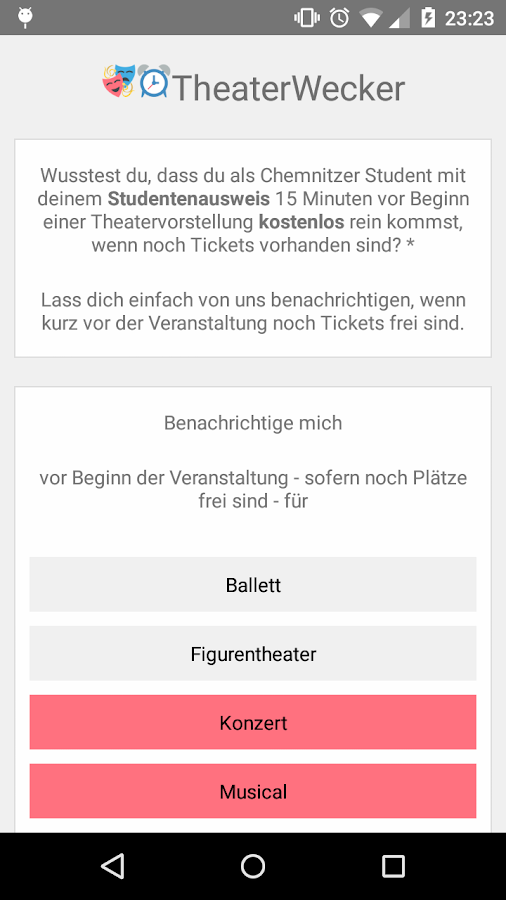 Theaterwecker- screenshot