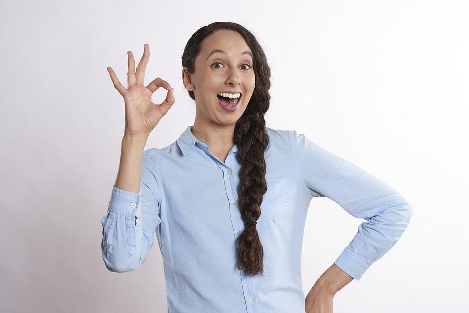 わかりました, A-Ok, 女性, はい, 肯定的です, シンボル, 成功, 良い, 記号, 選択, 大丈夫