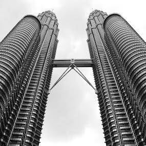 Petronas Twin Towers by Khawaja Hamza - Black & White Buildings & Architecture ( canon, petronas twin towers, monochrome, low angle, tallest, kuala lumpur )
