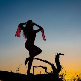 Freedom by Gregor Grega - Nudes & Boudoir Boudoir ( boudoir, nature, sunset, silhouette, artistic, model, posing, landscape,  )