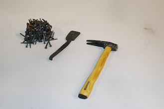 Photo: Seth's nail-header, nails, and hammer