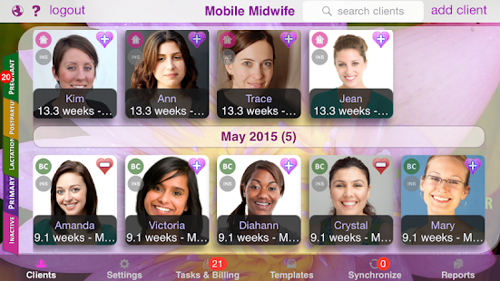 Mobile Midwife EHR Client Portal - náhled