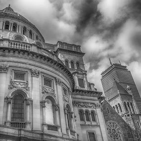Church of Christ and the Prudential Center Boston Mass by Paul Gibson - Black & White Buildings & Architecture ( detail, sky, hdr, church, black and white )