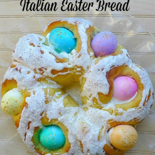Italian Easter Bread with Colored Eggs.