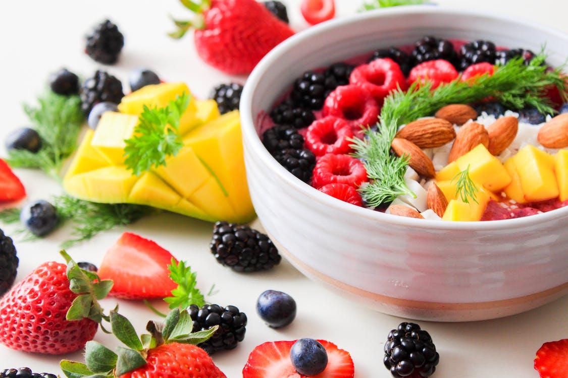 Fruit Salad In White Ceramic Bowl