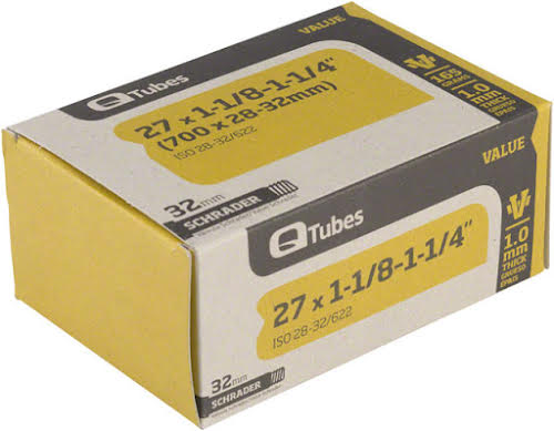 Q-Tubes Value Series Tube with Schrader Valve: 700x28-32mm (27x1-1/4)